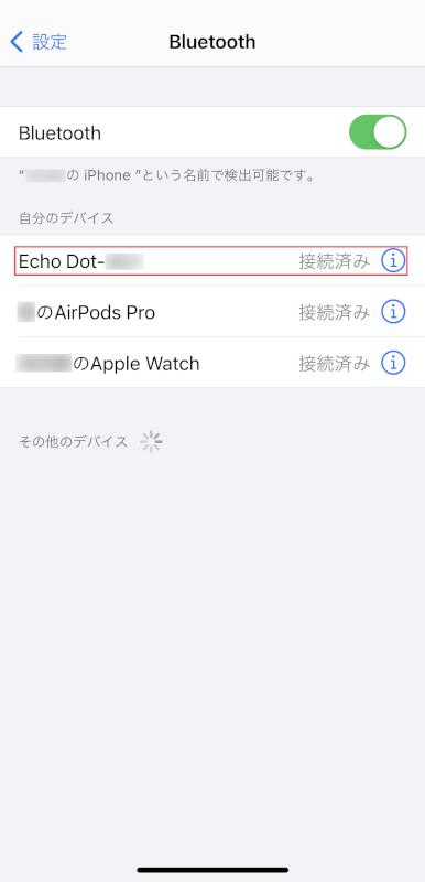 Echo Dotとのペアリング完了